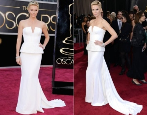 Charlize and her gravity-defying Dior.